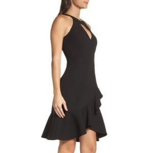 Kasi Keyhole Ruffle black Dress Adelyn Rae NWT XS